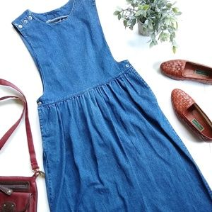 Vintage • denim pinafore overall jumper dress